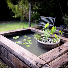 Garden Pond with railway sleepers